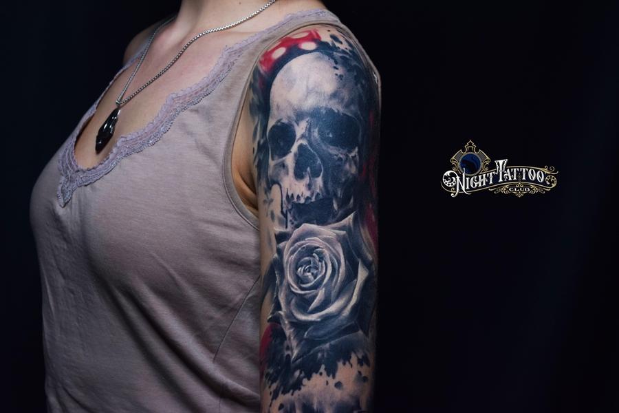 Пример тату в стиле Треш Полька