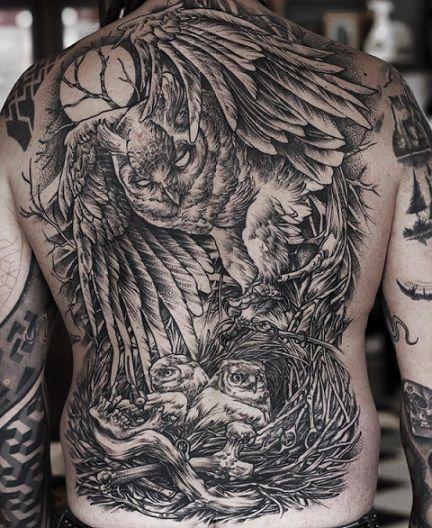 Пример тату в стиле Блэкворк