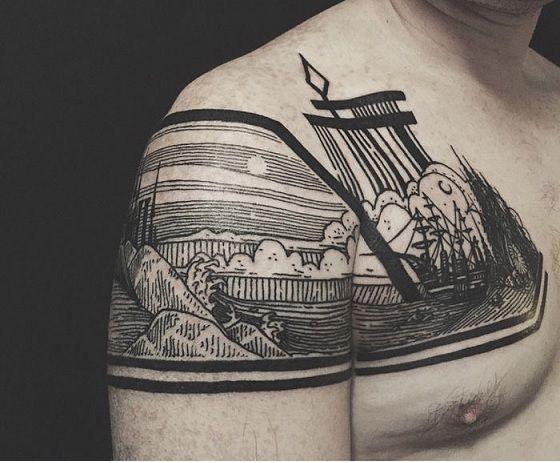 Пример татуировки в стиле тату Гравюра